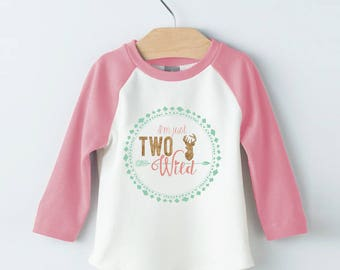 Two Wild Tee Shirt design - Pink and teal iron on - Girls 2nd Second Birthday - In two the wild - Instant Download