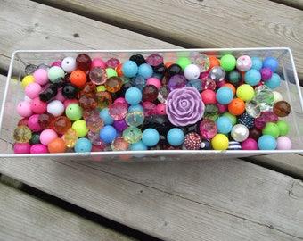 Bag of Beads, Bead lot, Gumball Beads, Necklace Beads, DIY, Big Beads