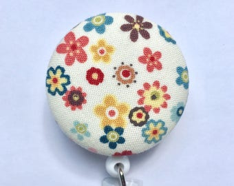 Badge Holder - Retractable Badge Reel - ID Badge Holder - Small Flowers Badge - Calico Print - Name Badge - Nurse Gift - Fabric Badge Reel