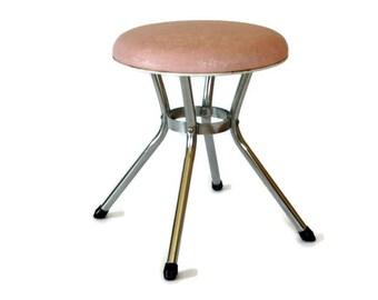 Vintage Cosco Stool, Vanity Stool Chair, Pink Upholstered Seat, Mid Century Decor