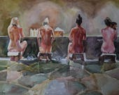 The Muses take a bath. Original watercolor painting, made to order. (Reserved)