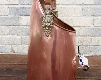 Tall Copper Coal Scuttle with Delft Blue Handles Brass Lion Head