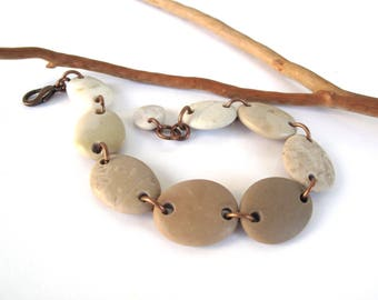 Beach Stone Jewelry Pebble Bracelet Mediterranean Rock River Stone Natural Stone Beads Organic Earthy Jewelry Beige Copper MIA