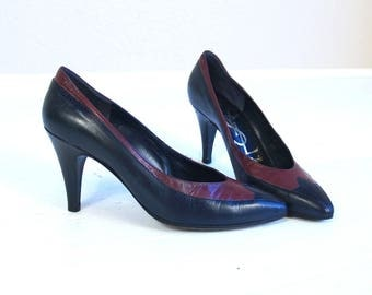 vintage 80s YVES SAINT LAURENT Stiletto Heels 6.5 leather pumps two tone navy berry shoes Italian ysl