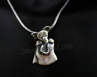 Sterling Silver Chihuahua  Necklace - Chilli