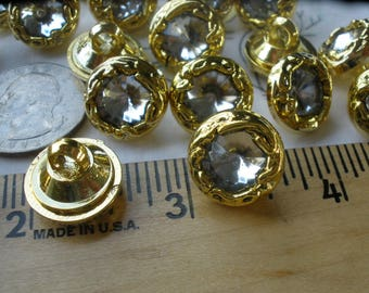 """15MM Gold Gilt fancy Clear Rhinestone Plastic shank buttons faceted 5/8"""" 24L sewing paper craft cabochon antique costume clothes"""