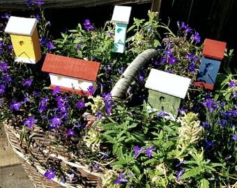 Miniature birdhouse,fairy garden,decoration,floral pick,custom pick,small birdhouse,whimsical, modern,reclaimed wood,plant decoration,garden