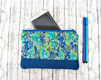 Make up bag Case. Blue japanese fabric flowers zipper clutch. Brushes, Vanities, beauty kit organizer.  Fashion gift for bridesmaids