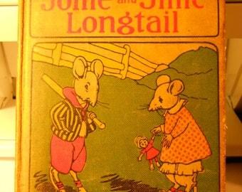 1916 Antique JOLLIE & JILLIE LONGTAIL Bedtime Stories Book By Howard R. Garis