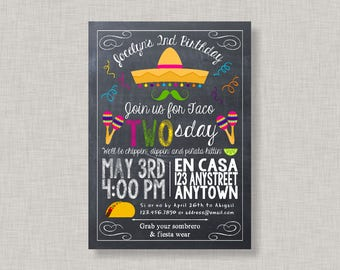 Fiesta Invitation, Fiesta Birthday Invitation, Taco Tuesday Invitation, Taco Twosday Invitation, Second Birthday Invitation, 2nd Birthday