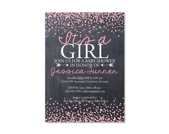 Chalkboard Confetti Girl Baby Shower Invitation