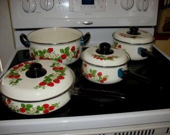 Vintage 7 Piece Strawberry Pattern Enamelware Cookware Set