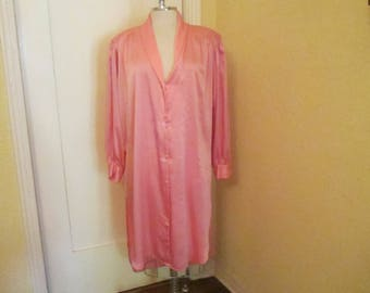 Vintage Christian Dior Nightshirt Peach Medium Large 1980s Long Slits