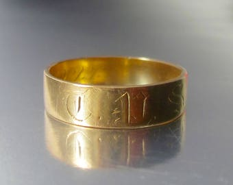 Antique (1871) Victorian Rose Gold Wedding Band 14K. 4mm Wide Wedding Band. Civil War Era.