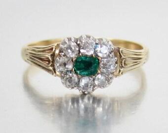 Antique Georgian Diamond and Emerald Engagement Ring 18K