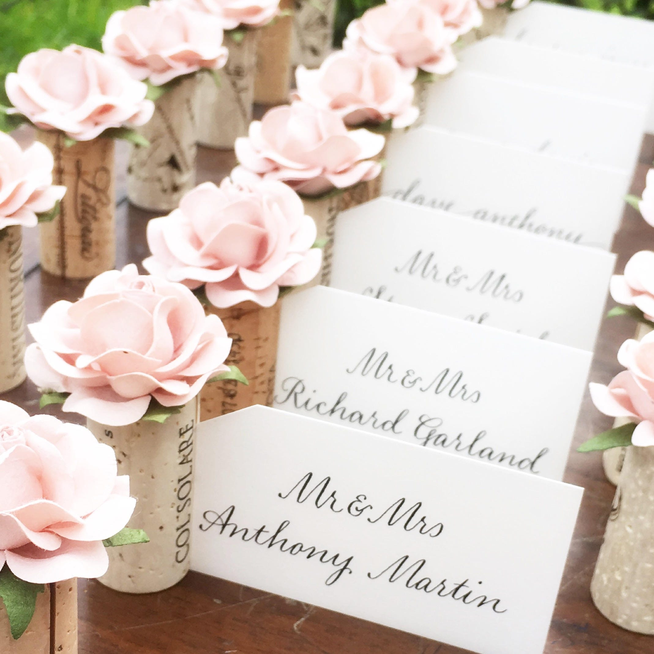 Romantic placecard holder wedding blush pink bridal shower for Wedding place name cards