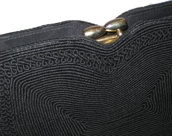 50s Black Purse, Black Corde Bag, Small Corde Purse, Bag, 50s Black Corde, Vegan Friendly, Black Cocktail Bag, Corde Evening Bag