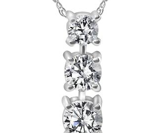 Three Stone Diamond Pendant White Gold 1/2ct 3 Stone Round Brilliant Cut Womens Diamond Necklace Pendant & Chain