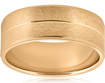 Yellow Gold Brushed Wedding Band Mens 14k Gold Ring 8mm Comfort Fit Matte Finish Solid Yellow Gold
