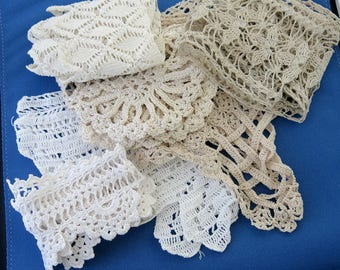 Crochet Lace Trim Sampler White Ivory Ecru 6 Hand Crochet Pieces Butterfly 893b