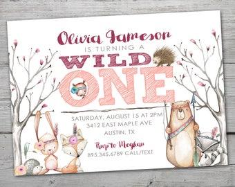 Wild ONE Birthday Invitation, Wild ONE Birthday, Woodland Birthday Invitation, PRINTABLE, Woodland Birthday Party, Woodland Birthday