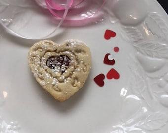 Heart Shaped Sugar Cookies with Cherry Jam, Almonds-1 dozen Jammies- classic Valentine treat for Her, Parties, Birthdays, Weddings, Mom, Dad