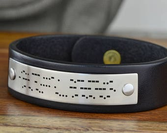 Morse Code Leather Bracelet, Morse Code Jewelry, Secret Message, I love you, Boyfriend Gift, Girlfriend Gift - ANY text up to 25 Char