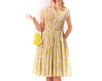 1950's Yellow Swirl Day Dress/ 50's Pleated Skirt Novelty Print Small
