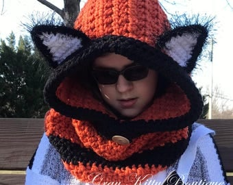 Hooded Fox Cowl - Fox Hat - Fox Hoodie - Fox Cowl - Hooded Fox Scarf - Crochet Fox Hoodie - Animal Scarf