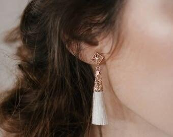 NEW! Ether earrings - White tassel star earrings - cotton thread earrings- gold plated 18k celestial crystal earrings