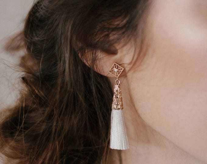 NEW! Ether earrings - White tassel star earrings - cotton thread earrings- gold plated 18k celestial crystal earrings