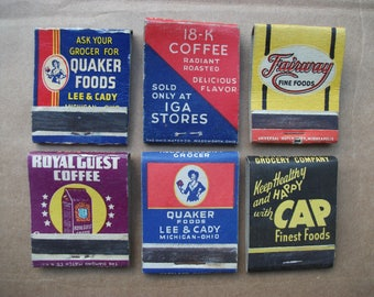 Vintage 1940's Matchbook Covers Coffe Brands, 18K, Quaker Coffee, Wishbone Coffee, Royal Guest Coffee, Front Strike Matchbooks