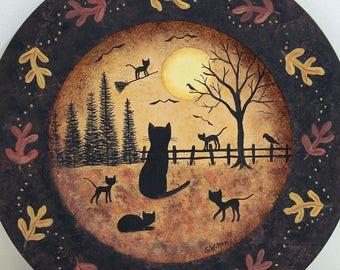 Halloween Folk Art Wood Plate, Midnight Broom Ride,  Hand Painted Primitive Plate, Black Cats, Full Moon, Fall Leaves Border, MADE TO ORDER