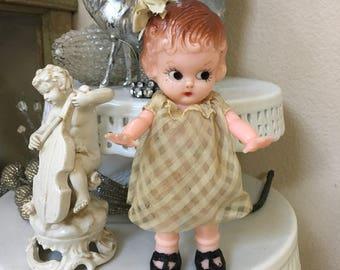 Vintage Knickerbocker Doll with Cream Checkered Dress