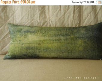 ON SALE Green landscape lumbar pillow. Bring nature in pillowcase. Abstrait art green .. Seen from train /  FRAGMENTS