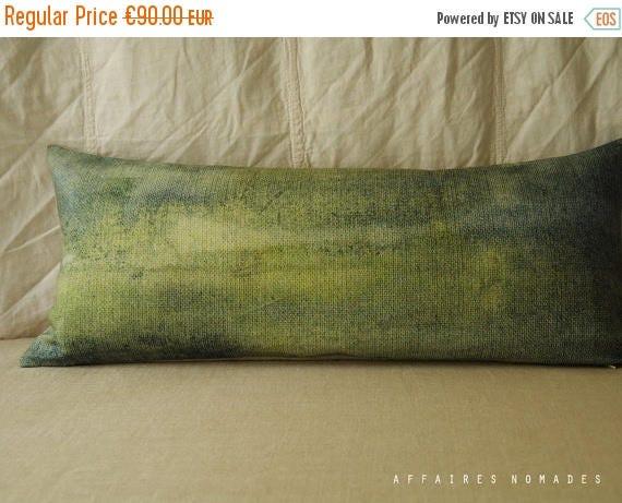 ON SALE Green landscape lumbar pillow. Bring nature in pillowcase. Abstrait art green .. Seen from train /  FRAGMENTS