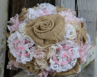 Pink, white and burlap and lace bouquet, pink lace flowers, fabric bouquet, wedding flowers, blush pink, pearls, rustic bridal bouquet, lace