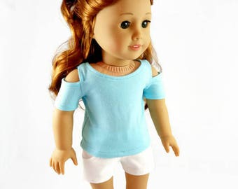 18  inch doll clothes,  Shorts, Open Shoulder Top, designed to fit like American Girl® doll clothes, AG doll clothes, Summer clothes