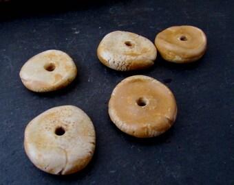 5 Medium Honey Brown Glazed Chubby Disc Clay Beads