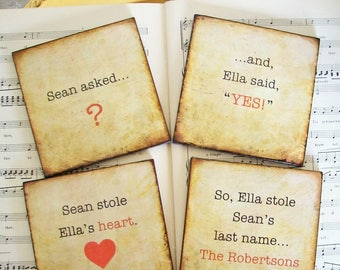 He Asked She Said Yes Wedding Coaster Set of 4 Personalized Wedding Gifts for the Bride and Groom