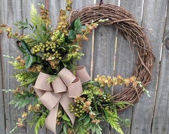 Door Wreath, Year Round Door Wreath with Natural Green Wreath, Door Wreath, Front Door Wreath, Spring Wreath, Berries and Blooms burlap