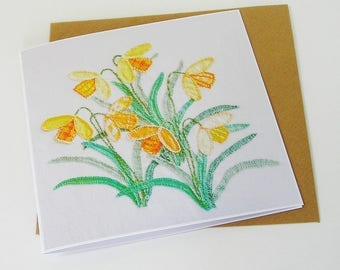 Daffodils Greetings Card Cream Background, Easter Card, Spring Card, Recycled Card, Card for Her