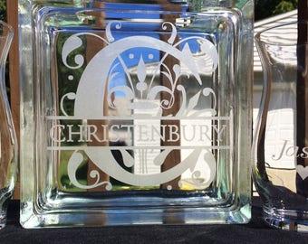 Sand Ceremony Set - Regal Split Letter - Personalized - Pouring vases - Etched Glass - Engraved - Unity Set