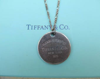 Vintage Sterling Silver Tiffany and Co. Round Tag Charm Pendant Necklace