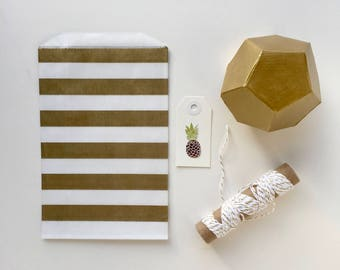 50 Gold Striped paper bags, gold favor bags, gold striped candy bar bags shower favor bags