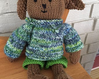 Hand knit bunny with sweater/baby gift/stuffed animal