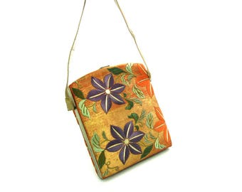 Japanese Silk Handbag. Orange w/ Gold, Embroidered Purple & Pale Blue Clematis Flowers, Green Leafy Vine Purse Vintage 1940s NOS Evening Bag