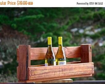 "Back To School Sale 28"" Reclaimed pallet Wine rack Caddy rustic kitchen farmhouse Furniture boho primitive 7 6 bottle wine countryside shelv"