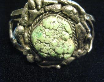Rare Old Pawn Sterling Silver Cuff Bracelet vintage 40's 50's Old Sea Foam Green stone 64.7g