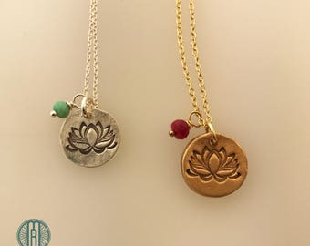 Small Lotus Necklace with Stone, Yoga, buddhism